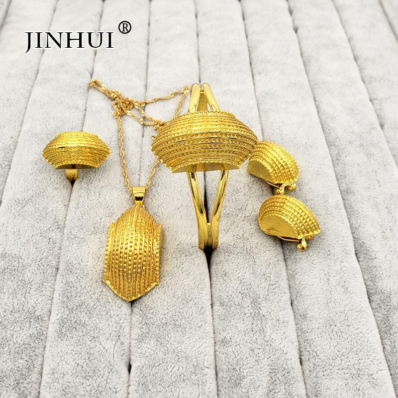 Ethiopian jewelry sets Big Coin Pendant Necklace Earring Ring Gold gifts for women African Eritrea dubai Habesha bridal set