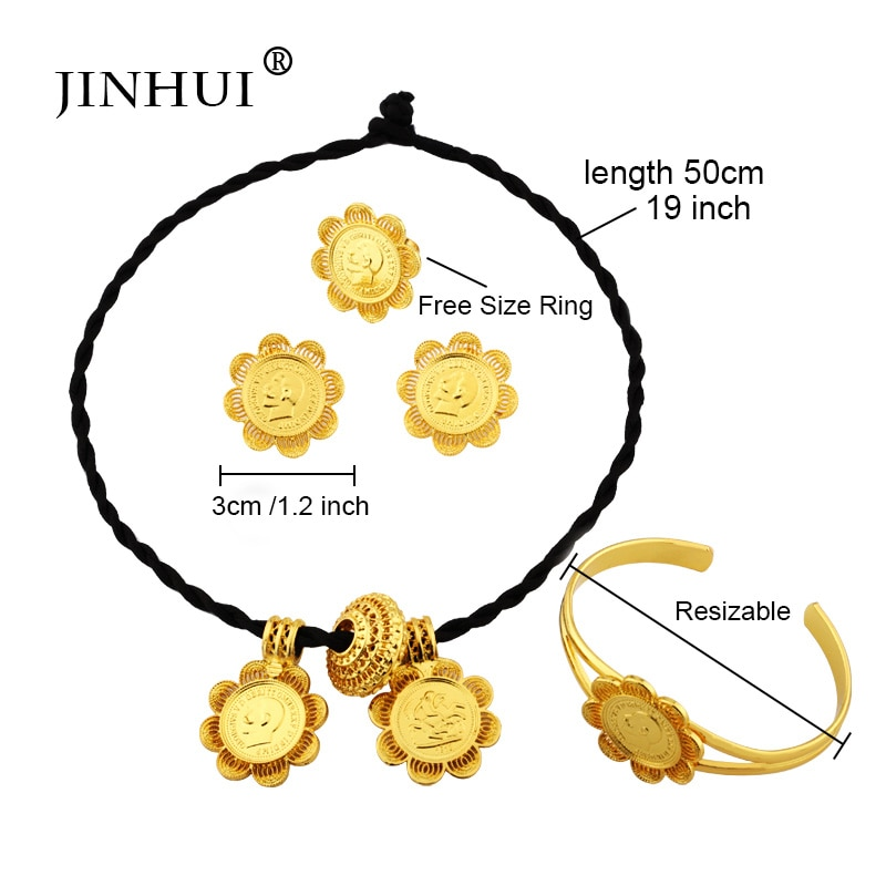 Ethiopian gold jewelry sets 24k Big Coin Pendant Necklace Earring Ring Dubai gifts for women African Eritrea wedding bridal set