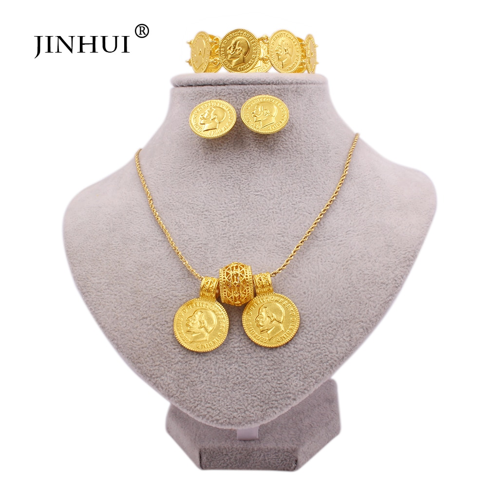Jewellery set 24K gold color jewelry sets for women big coin pendant necklace earring bracelet Dubai African bridal gifts set