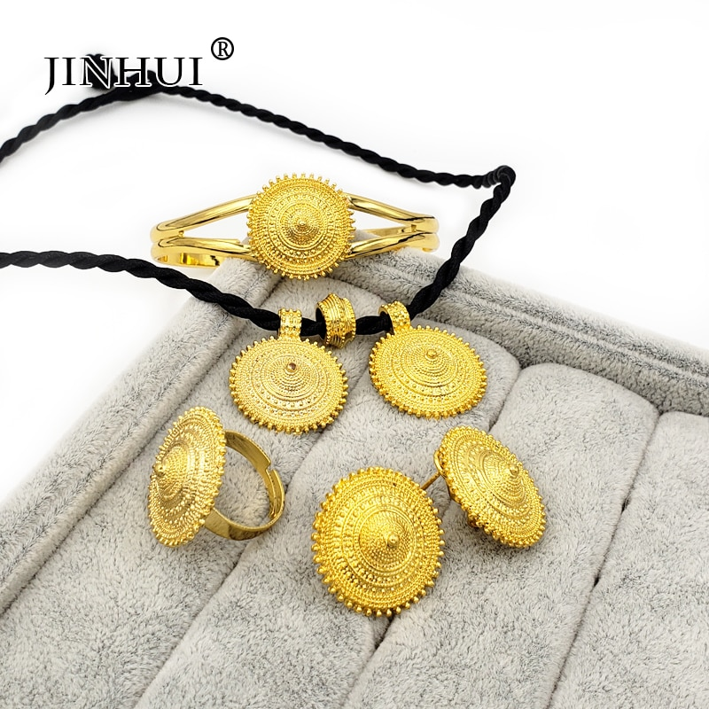 New Ethiopian jewelry sets Pendant Necklace Earring Ring Gold gifts for women dubai African Eritrea bridal jewelry wedding set