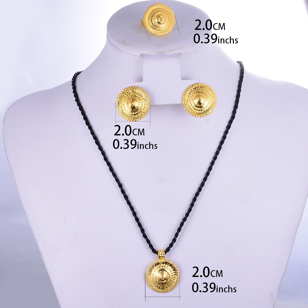 WANDO Dubai Jewelry Sets for Women Gold Color Ethiopian Pendant Necklaces Earrings Middle Eastern Arab African Wedding Jewellery