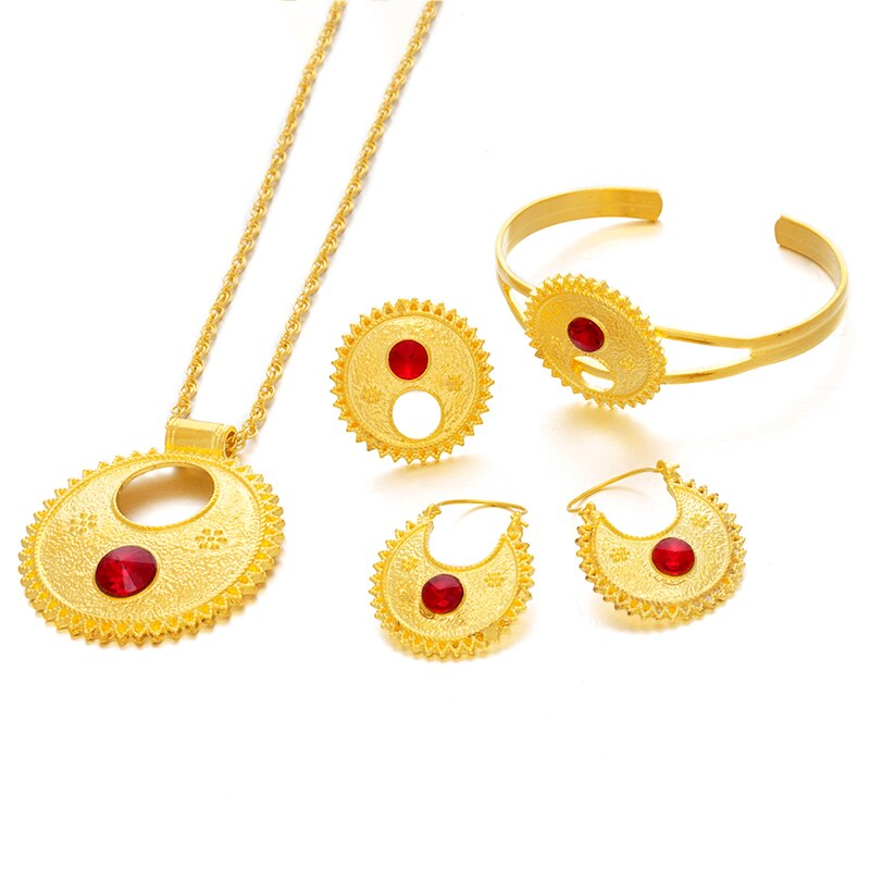 Ethlyn Jewelry Ethiopian sets Necklace Bangle Earrings & Free Size Ring Jewelry sets Gold Color Eritrean Best Holiday Gifts S196
